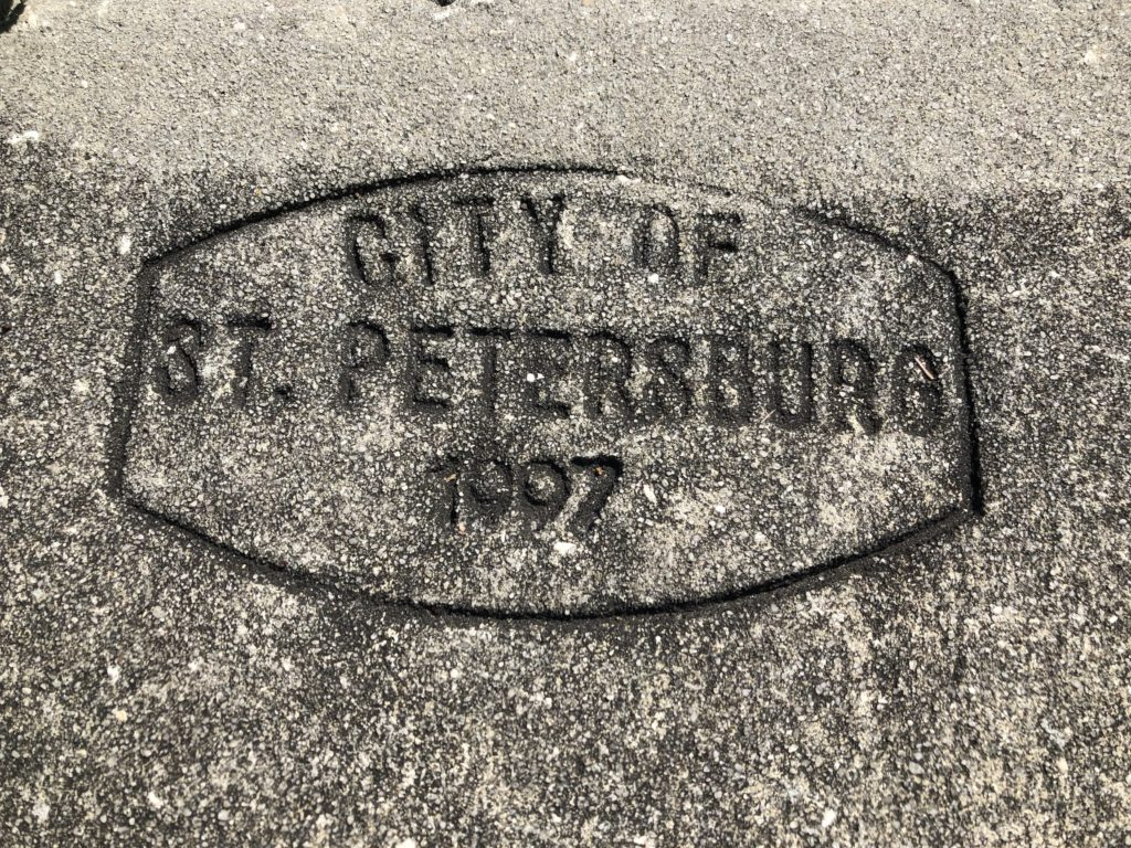 Sidewalk with words engraved City of St. Petersburg 1997