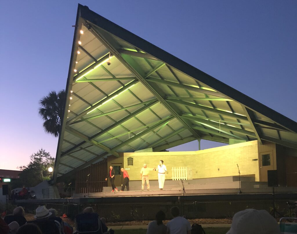 bandshell with actors on stage